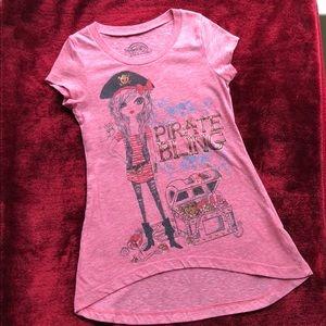 Light red heathered Girls' Pirate shirt-M 7/8